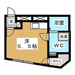 都営浅草線 戸越駅 徒歩5分の賃貸マンション 2階ワンルームの間取り