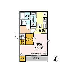 名鉄名古屋本線 加納駅 徒歩5分の賃貸アパート 3階ワンルームの間取り