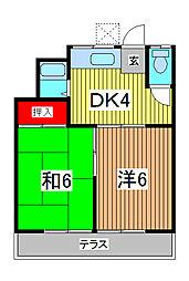 コーポ柳崎[202号室]の間取り