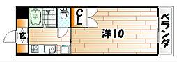 ベルベーヌ八幡[9階]の間取り