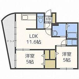 北海道札幌市中央区北八条西26丁目の賃貸マンションの間取り