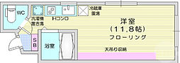 JR仙山線 東北福祉大前駅 徒歩17分の賃貸マンション 3階1Kの間取り