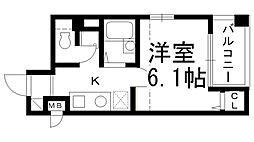 M'PLAZA2香里弐番館 9階1Kの間取り