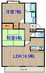 宮城県仙台市青葉区落合5丁目の賃貸アパートの間取り