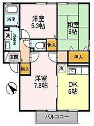 福岡県北九州市八幡西区吉祥寺町の賃貸アパートの間取り