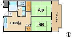 シャンポール東大阪[408号室]の間取り