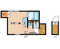 京王線 桜上水駅 徒歩8分の賃貸アパート 2階ワンルームの間取り
