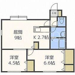 北海道札幌市東区北二十一条東9丁目の賃貸アパートの間取り