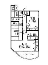 愛知県名古屋市守山区小幡南2丁目の賃貸マンションの間取り