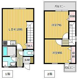 (仮)丸子新築メゾネット・ 1階2LDKの間取り