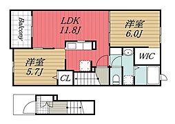 千葉県千葉市若葉区小倉町の賃貸アパートの間取り