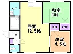 コーポ土田B 2階2LDKの間取り