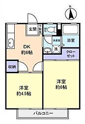 富士見ハイツA[2階]の間取り