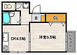 兵庫県神戸市兵庫区上三条町の賃貸アパートの間取り