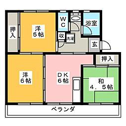 リバーサイドハイツ丸山B[3階]の間取り