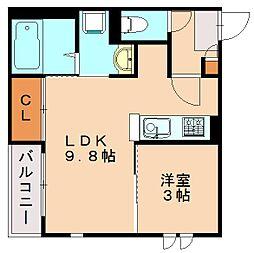レガリスト大橋Me-ryII[1階]の間取り