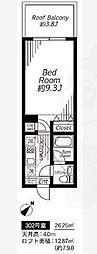 神宮前COURT A 2階1Kの間取り