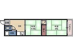 東和マンション 4階2DKの間取り