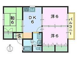 サニーハウス[201号室]の間取り