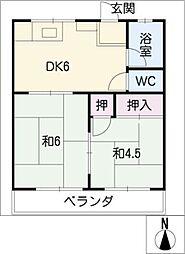 愛知県北名古屋市鹿田出町西の賃貸マンションの間取り