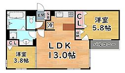 JR東海道・山陽本線 摩耶駅 徒歩2分の賃貸アパート 2階2LDKの間取り