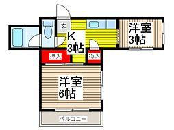 松橋ハイツ[2階]の間取り