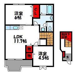 JR鹿児島本線 福工大前駅 徒歩17分の賃貸アパート 2階2LDKの間取り