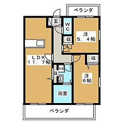吉祥院マンション(仮) 3階2LDKの間取り