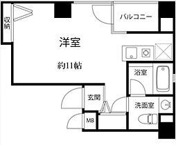 昭美人形町マンション 6階ワンルームの間取り