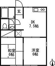 茨城県ひたちなか市大字馬渡の賃貸アパートの間取り