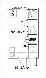 東京都新宿区中落合1丁目の賃貸アパートの間取り
