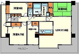 ディアステージ江坂G-TOWER 17階4LDKの間取り