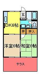 千葉県市原市五所の賃貸アパートの間取り