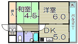 大阪府大阪市福島区大開2丁目の賃貸マンションの間取り