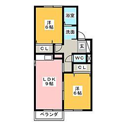 シャンテセジュール[2階]の間取り