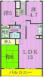 千葉県松戸市常盤平7丁目の賃貸マンションの間取り
