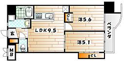 福岡県北九州市小倉北区井堀4丁目の賃貸マンションの間取り