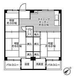 ビレッジハウス倉治3号棟4階Fの間取り画像