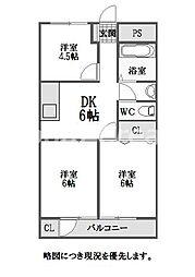 徳島県徳島市住吉3丁目の賃貸マンションの間取り