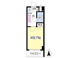 JR東北本線 福島駅 徒歩5分の賃貸マンション 9階1Kの間取り