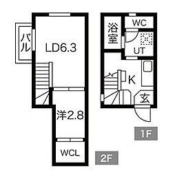 名鉄名古屋本線 東枇杷島駅 徒歩3分の賃貸アパート 3階1SLDKの間取り