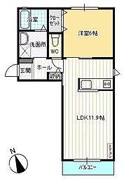 クラヴィエ富田B[103号室号室]の間取り