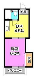 東京都東村山市秋津町5丁目の賃貸アパートの間取り