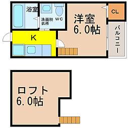 愛知県名古屋市南区星崎町字大江の賃貸アパートの間取り