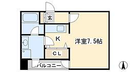 ボヌール三萩野[501号室]の間取り