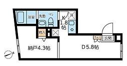 東京メトロ副都心線 西早稲田駅 徒歩2分の賃貸マンション 1階1DKの間取り
