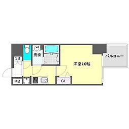 プレサンス心斎橋レヨン 9階1Kの間取り