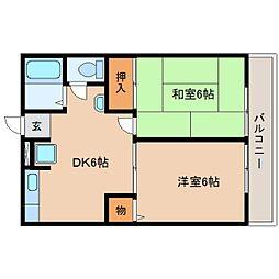 静岡県静岡市清水区大手の賃貸アパートの間取り