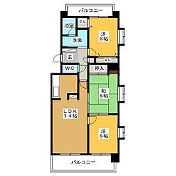 丸美ロイヤル北浜田 203号室[2階]の間取り