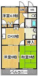AMハイツUDAGAWA[3階]の間取り